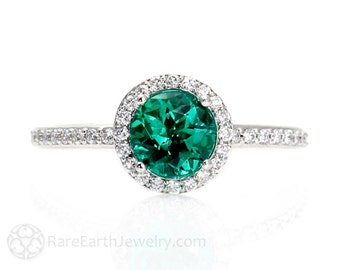 Emerald Ring Emerald Engagement Ring 14K Diamond Halo Emerald Ring May Birthstone Custom Gemstone Ring