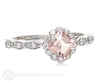 Platinum Asscher Morganite Engagement Ring Diamond Halo Morganite Ring Handmade Gemstone Ring