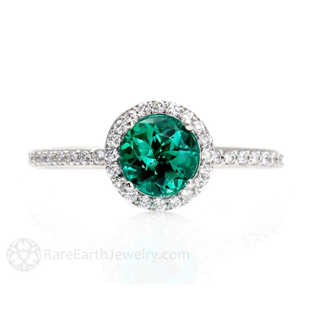 Emerald Ring Emerald Engagement Ring 14K Diamond Halo Emerald