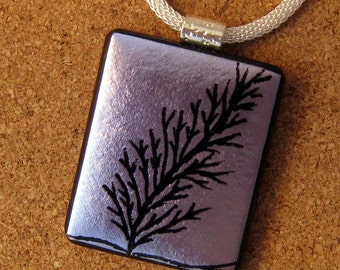 Hand Etched Dichroic Pendant - Fused Glass Pendant - Etched Jewelry - Dichroic Necklace - Purple Pendant - Hand Etched Jewelry - Tree