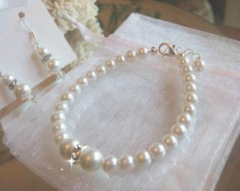 Pearl and Swarovski Rhinestone Bracelet and Earring Jewelry Set - Brides or Bridesmaid Jewelry Set/Wedding Jewelry Set