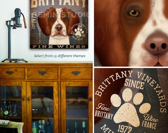 Brittany Spaniel dog wine Winery graphic illustration artwork on gallery wrapped canvas by stephen fowler