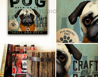 Pug dog brewing beer Company dog graphic illustration gallery wrapped canvas by stephen fowler