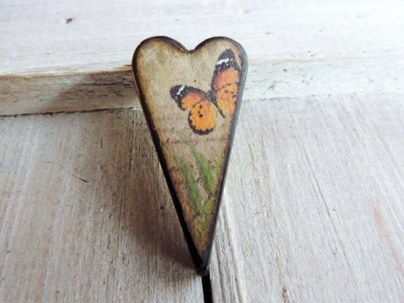 Orange Black Monarch Butterfly 1 1/2 inch Heart Pendant with complimentary double sided image Decoupaged and Woodburned ART Tile for DIY