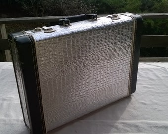Rock and Roll Briefcase , Faux Silver Alligator, Heavy Duty, Vintage with Chrome Latches, Hand Stitched