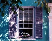 Charleston Cottage Window Garden - Tropical Turquoise Hideaway - Original Colour Film Matted Photograph by Suzanne MacCrone Rogers
