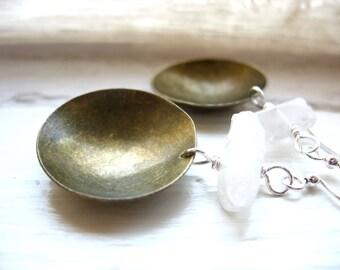 Quartz Crystal Point Earrings, Quartz Stone Brass Dome Earrings, Chandelier Gemstone Dangle Earrings, Jewelry, Crystal Earrings