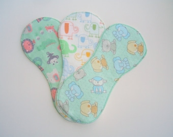 Cloth Diaper Liners, Diaper Inserts, Set of 3 Baby Animal Neutral Print, Newborn/Small Pocket Diaper Inserts, One Size Liners