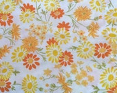Vintage Twin Size Flat Sheet with Happy Yellow and Orange Flowers - Use as Bedding or Fabric for Vintage Creations