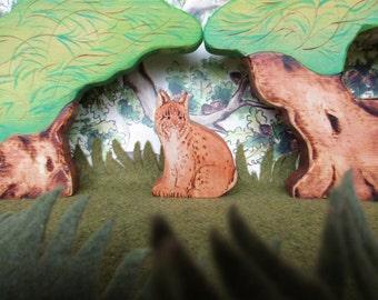 Wooden Bobcat Waldorf Heirloom Wood Animal Toy