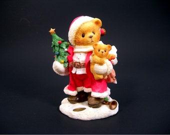 Cherished Teddies KLAUS Santa Figurine, Vintage 1996 MIB, Holding Tree and Teddy, Priscilla Hillman, Enesco, Collectible Bears