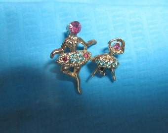 Pair of Balirina Ladies with Pink Rhinestones for the Face