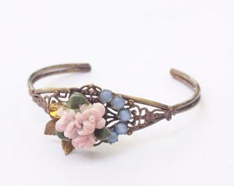 Vintage bracelet pink porcelain floral crystal rhinestone pastel shabby and chic retro filigree cuff