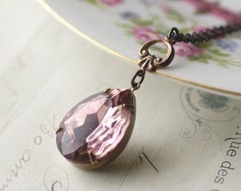 Lavender Jewel necklace amethyst purple gem elegant brass bridal vintage style