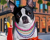 Boston terrier art, New Orleans - Boston Terrier Dog Art print