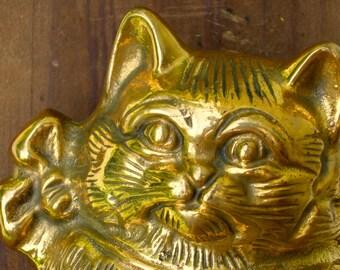 Vintage Door Knocker - Pretty Kitty - Bright Brass