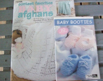 Set of 2,Baby Afghans,Booties,Leaflets,Crochet,Knit,Patterns,Supplies,Crafts,Leisure Arts