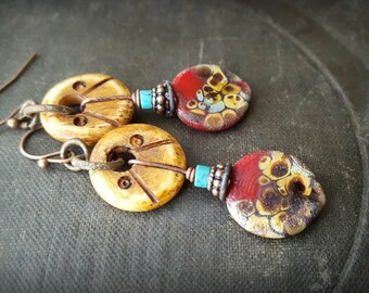 Lampwork Headpins, Lampwork Glass, Turquoise, Carved Bone, Discs, South West, Earthy, Organic, Rustic, Beaded Earring