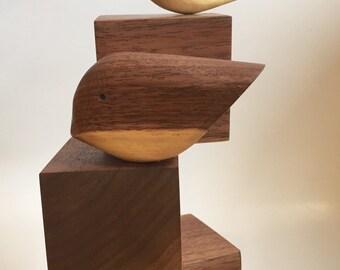 Walnut bird sculpture