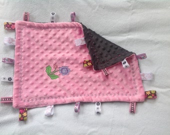 Pink Ribbon Embroidered Blankie
