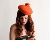 Vintage 1960s Hat - I. Magnin Bright Tangerine Orange Avant Garde Hat