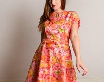 ON SALE Vintage 1960s Mode O Day Dress - Sherbert Pastel Citrus Watercolor Print Dress - Medium