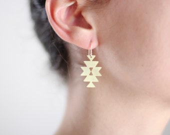 Geometric Southwestern Triangle Earrings - Gold or Silver