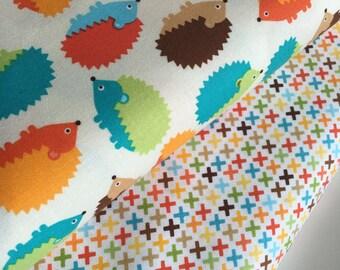 Hedgehog fabric, Boy fabric, Nursery fabric, Childrens fabric, Woodland Pals by Ann Kelle for Robert Kaufman, Bundle of 2- Choose the Cut