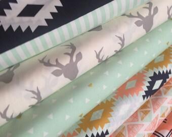 Tribal fabric, Metallic fabric, Deer Fabric, Hello Bear Fabric, Cotton Fabric by the Yard, Arizona Fabric, Art Gallery- Fabric Bundle of 7