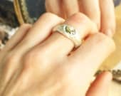 Sermon on the Rocks ring fine eco silver 22K eco gold bars fairy glass size 7.5 and made to order