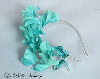 Aqua Blue Fascinator ~ 1950s Floral Headband ~ Reclaimed Vintage Flower Hair Accessory