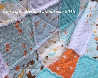 Custom Whimsical Mermaids SeaHorse Aqua Blue White & Orange Boutique Designer Crib/Toddler Rag Quilt Bedding READY To SHIP