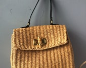 VINTAGE...natural wicker basket purse ~ classic ~ fishing basket ~ summer wedding