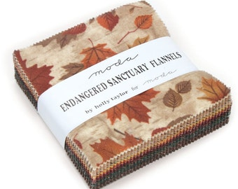 """Endangered Sanctuary Flannels Moda Charm Pack 42 - 5"""" precut fabric quilt squares by Holly Taylor"""