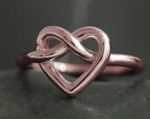 Gold heart and infinity knot ring - Available in rose gold, yellow gold or white gold