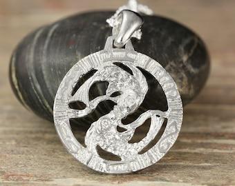 Pisces zodiac pendant in oxidized silver