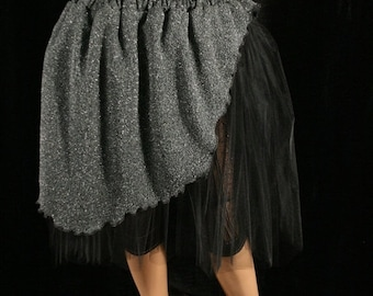 SALE Adult tutu skirt asymmetrical black silver costume petticoat dance carnival gypsy witch boho - Medium - Ready to Ship - Sisters of the