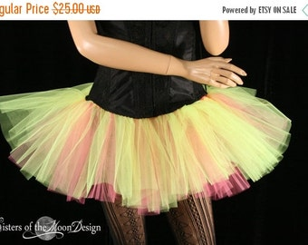 SALE Mini micro tutu skirt neon hot pink dance roller derby gogo dancer race run teen girls - Ready to ship - Small - Sisters Of the Moon