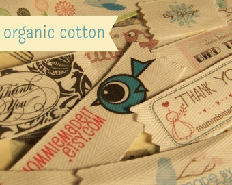 Your Custom Labels Printed in Full Color on Organic Cotton Twill Ribbon  - Use a Premade Design or Your Logo - 2 Yards