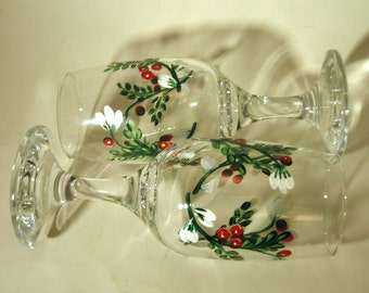 Hand Painted Toasting Flutes With White Flowers and Berries