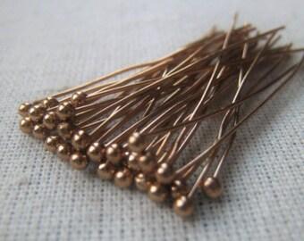 Bronze Gold Ball Head Pin 24 Gauge Flat Pin 1 25 Inch Item No. 8765