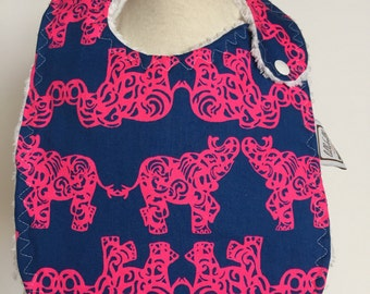 indigo blue pack your trunk ~ baby bib ~ lilly pulitzer ~ chic couture ~ boutique quality ~ baby bib from lillybelle designs