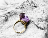 Crystal Quartz Ring, Wire Wrapped Ring, Statement Ring, Amethyst Stone Ring, Size 8.5, Meditate Amethyst Stone Brass Wire Ring