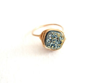 Aqua Turquoise Druzy Ring Gold shimmery blue Mermaid Gift for her under 50 VitrineDesigns