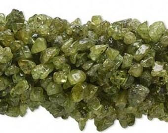 Natural Chip Peridot Gemstone Bead - FULL STRAND - 36 Inches