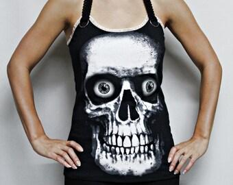 Skull shirt tank top Horror movie gothic clothing alternative apparel dark style nightmare elm street altered tee t-shirt