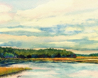 Original coastal watercolor painting, Marsh Dreams II
