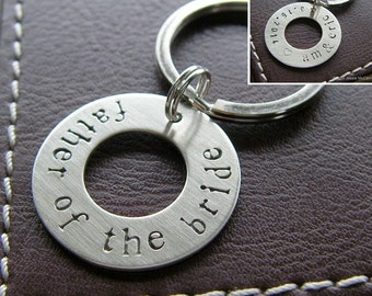 Personalized Washer Keychain - Custom Hand Stamped Sterling Silver Key Chain - Double-Side Stamping - Wedding Gift for Father of the Bride!