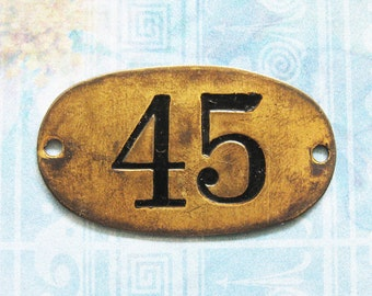 Rustic Brass Tag Number 45 Industrial Antique Vintage PO Box Painted Numbered Victorian ID Plate Jewelry Locker Basket Hardware