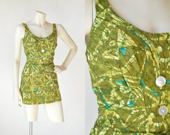 30% OFF 1950s Catalina Playsuit --- Vintage Green Cotton Swimsuit